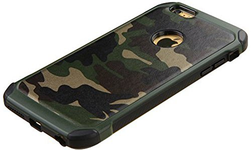 iPhone 6 case,iPhone 6s case Defender Shockproof Drop proof High Impact Armor Plastic and Leather TPU Hybrid Rugged Camouflage Case for Apple iPhone 6 / 6S - Camo Green (4.7-inch)