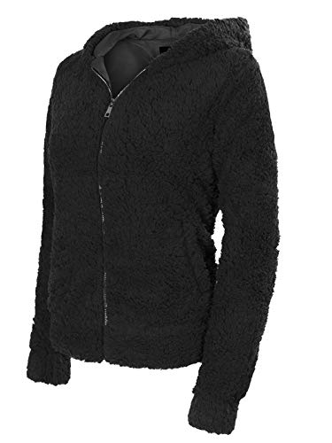 Design by Olivia Women's Casual Warm Fluffy Faux Fur Hooded Zip Up Bomber Jacket Black ()