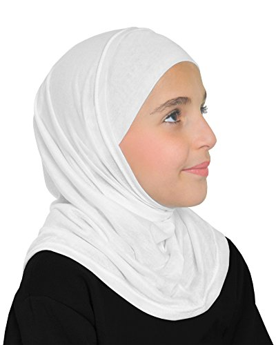 Girls Cotton Amira Hijab 2 Piece Set with Pull On Hood & Tube Cap (White) by Middle Eastern Mall (Image #1)