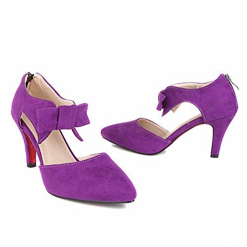 Carolbar Femmes Arcs Élégance Élégance Parti Bout Pointu Talon Aiguille Robe Sandales Chaussures Violet