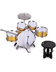 Children Jazz Drum Set 5 Drums with Small Cymbal Stool Drum Sticks Musical Education Percussion Instrument Toy for Kids (Color : Gold)