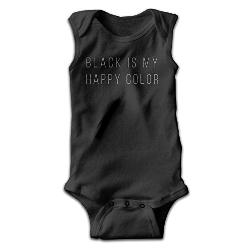 Price comparison product image Hyhyhei Black Is My Happy Color Baby Sleeveless Bodysuits Unisex Cute Lap Shoulder Onesies