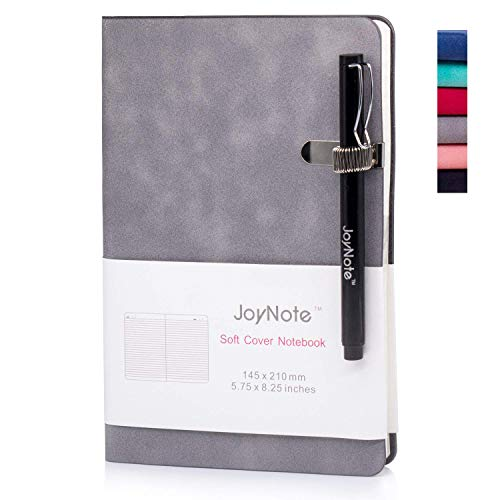 JoyNote Journal Notebooks, A5 Ruled Hardcover Journal with Pen Holder, Thick Paper Soft Cover Notebook, Red, 96 Sheets/192 Pages, 5.75 x 8.25 - Meeting Journal