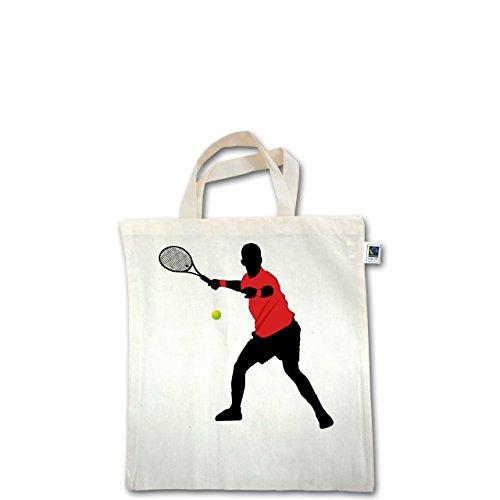 Tennis - Tennis Vorhand - Unisize - Natural - XT500 - Fairtrade Henkeltasche / Jutebeutel mit kurzen Henkeln aus Bio-Baumwolle