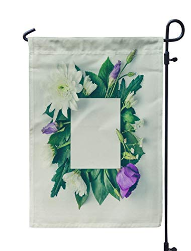 - Kutita Colorful Flowers Garden Flag 12X18 Inch, Creative Layout Flowers and Leaves with Card Flat Nature Weatheproof Double Sided Decorative Outdoor Flag for Garden Yard