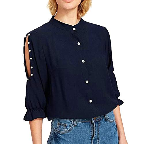 Amlaiworld Office Lady Button Blouse Women Cold Off Shoulder Beading Blouses Ruffles Sleeve Button Shirt Tops Navy
