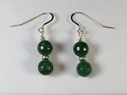 Genuine Malaysian Jade & Sterling Silver Earrings/ Jade Earrings/ Handmade/ Hand Crafted