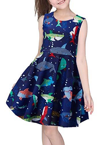 Girls Fantastic Dress Colorful Shark Blue Lightweight Breathable Silky Dress for Daughter Preschooler Toddler 8Y 9Y (Colorful Shark,L)