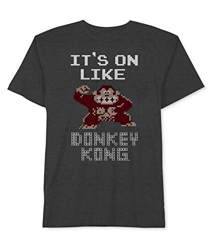 Donkey Kong Mens It�s On Like Graphic T-Shirt, Grey, Large
