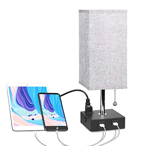USB Bedside Table Lamp with Outlet, Aooshine Modern Solid Wood Nightstand Lamp with 2 Useful USB Ports & One Outlet, Grey Fabric Shade Ambient Light Desk Lamp for Bedroom, Guest Room or Office