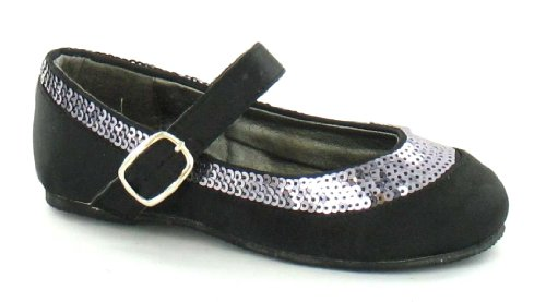 On Girls Spot Black Sequin Flats Ballerina Detail 5daF7naAx