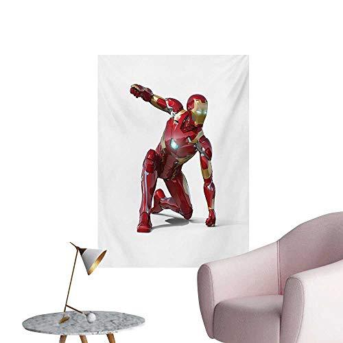 Anzhutwelve Superhero Wall Sticker Decals Robot Transformer Hero with Superpower in Costume Cyber Man Fun Character PrintWhite Maroon W32 xL36 Space Poster -
