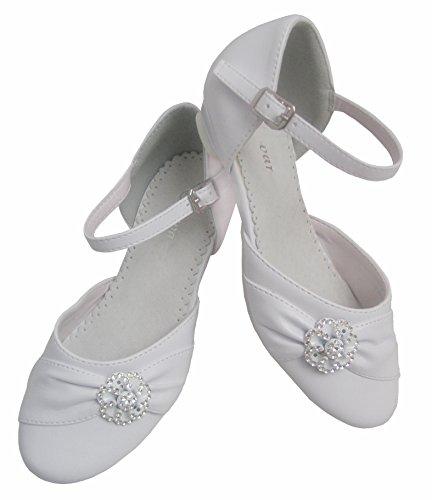 Kommunionschuhe chaussures communion festliche-chaussures pour fille avec perles blanc