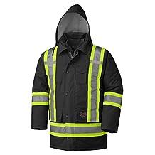 Pioneer V1120470-4XL Winter 6-in-1 Parka Jacket - 100% Waterproof hi-viz rainwear, Black, 4XL