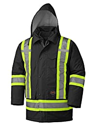 Pioneer V1120470-L Winter 6-in-1 Parka Jacket - 100% Waterproof hi-viz Rainwear, Black, L