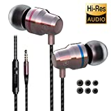 Earbuds Ear Buds in Ear Headphones Wired Earphones with Microphone Mic Stereo and Volume Control Waterproof Wired Earphone Compatible with Samsung Mp3 Players Tablet Laptop 3.5mm[Metal Earbuds]