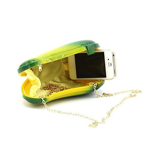 JESSIEKERVIN Women Fruit Mango Clutch Cute Evening Handbag Purses Mango Acrylic Bags Vintage Banquet ACwrxC