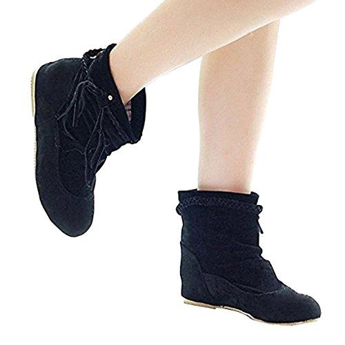 Minetom Negro Moda Invierno Mujer Botines Cargadores Botas Zapatos E De Calentar Flecos Otoño Cómodo Rrqf4wWR