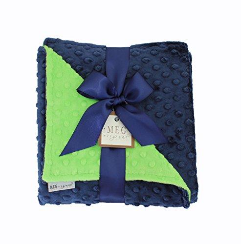 MEG Original Navy Blue & Lime Green Minky Dot Baby Blanket ()