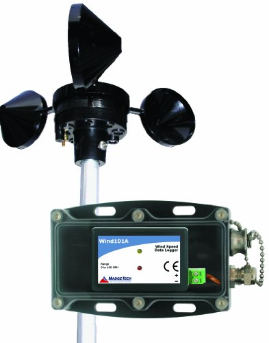MadgeTech Wind101A Wind Speed Data Logging System, with Pulse101A Data Logger, Weather Proof Enclosure, 3-Cup Anemometer, and IFC200 Software and Interface Cable, 0mph to 100mph Measurement Range, 25' Cable Length