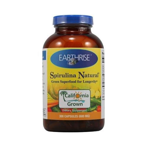 2 Packs of Earthrise Spirulina Natural - 600 Mg - 300 Capsules