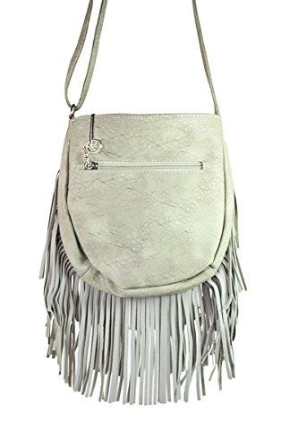 Schultertasche mit Fransen Henkeltasche Handtasche 9141
