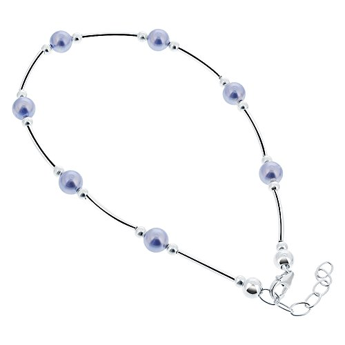Gem Avenue Sterling Silver Swarovski Elements Round Blue Faux Pearl Ankle Bracelet 9 to 10 inch Adjustable (Faux Gold Anklet)
