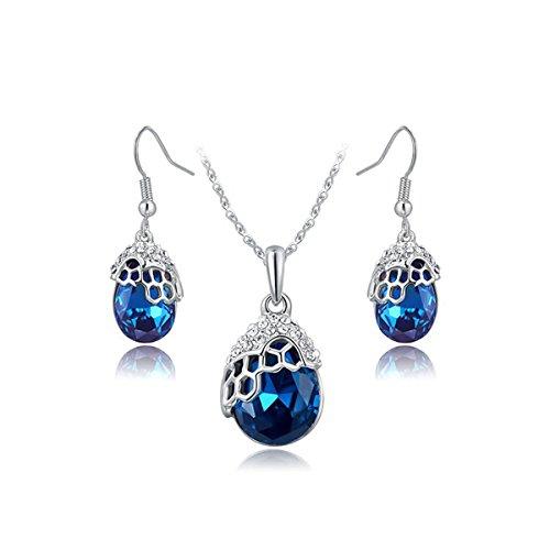 Honora Drop Necklace (AROUND 101 Women Swarovski Elements Austrian Crystal Blue Water Drop Zircon Pendant Necklace Dangle Earrings Jewelry Set (Silver))