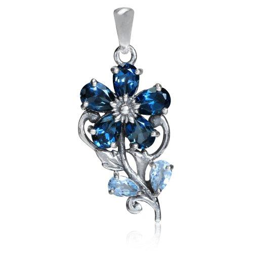 2.4ct. Genuine London Blue Topaz 925 Sterling Silver Flower & Leaf Pendant (Blue Topaz Flower)