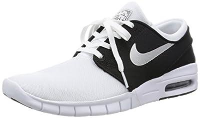 Nike Men's Stefan Janoski Max White/Metallic Silver-blackSneakers - 8.5 D(M) US