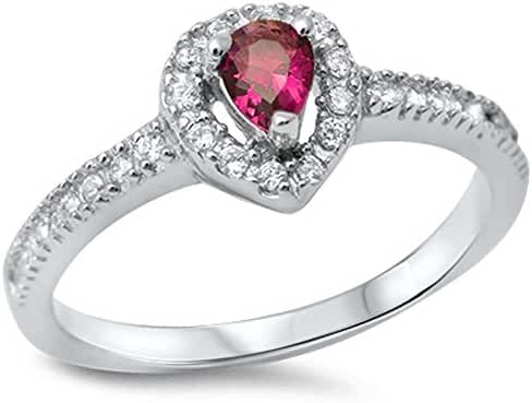 Simulated Ruby & Cubic Zirconia .925 Sterling Silver Ring sizes 5-9