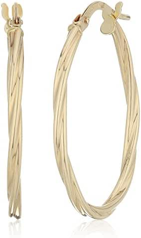 14k Yellow Gold Tube Click Top Hoop Earrings