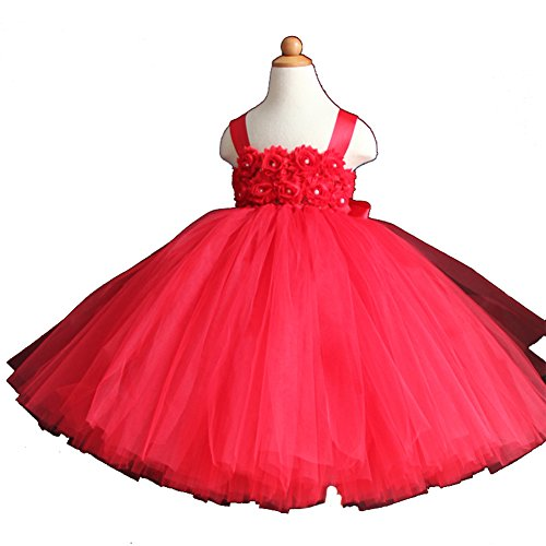 Girls' Fluffy Flower Girl Wedding Tulle Tutu Dresses 2 Rows 3D Rose Flowers with Tied Bow at Back (12-18 months, Red)