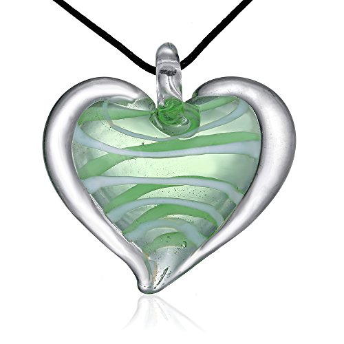 Bleek2Sheek Candy Heart Murano-style Glass Pendant Necklace (Green (Candy Stripes Murano Glass)
