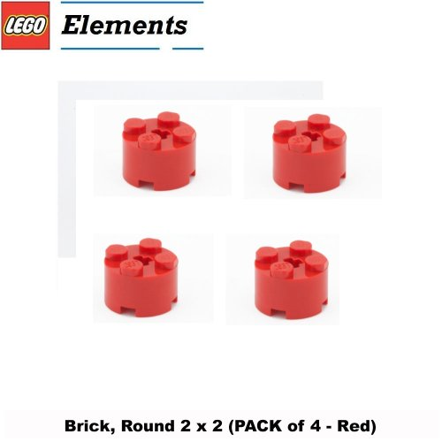 Lego Parts: Brick, Round 2 x 2 (PACK of 4 - Red) (Moc Trapper)