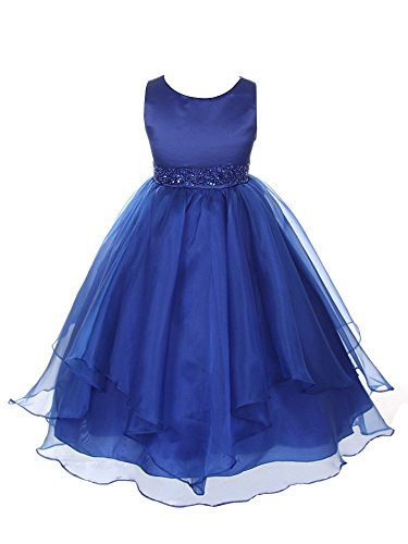 Chic Baby Girls Asymmetric Ruffles Satin Flower Dress, Royal Blue, 6, - Blue Dress Ruffle Girls