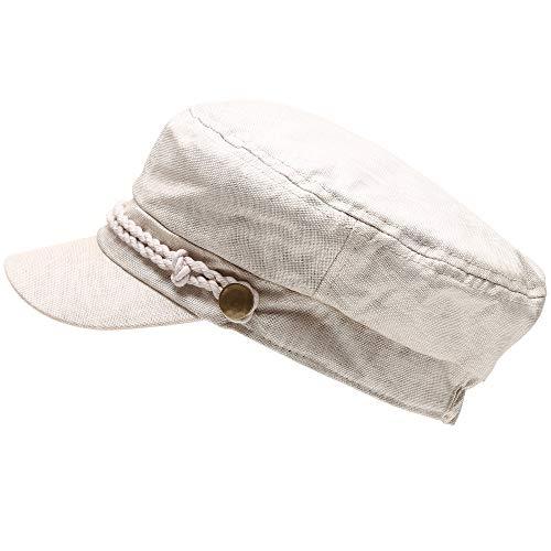 MIRMARU Women's Summer Linen Greek Fisherman's Sailor Newsboy Hats with Comfort Elastic Back -
