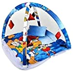 CuddleZ Doreamon Baby Kick and Play Gym Mattress with Mosquito Net and Bedding Set (0-12 Months) (Blue)