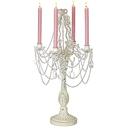 "Dahlia Studios Antique White 27"" High Taper Candle Four-Arm Candelabra"