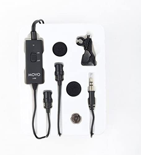 60D T4i Movo Dual Capsule Lavalier Clip-on Omnidirectional Microphone for Canon EOS 1D-X MK I and II T5i 5D MK I 7D MK I+II 6D T3i T2i DSLR Cameras 5DS R Digital Rebel T6S 70D III T6i II