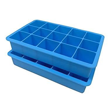 2-Pack Silicone Ice Cube Trays Make 15 Perfect-Sized Cubes - Great Molds for Ice, Candy, Cake, Chocolate - Make 30 Cubes - Beautiful Ice Blue by Skystone Direct!