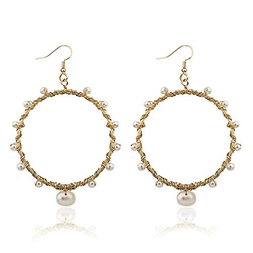 Pearl Hoop Earrings for Women Fashion Dangle Hypoallergenic Layer Earrings Drop Dangle Earrings Gifts for Women (Hoop - Earring Pearl Handmade Dangling
