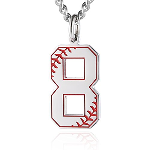 (HZMAN Baseball Initial Pendant Necklace Inspiration Baseball Jersey Number 0-9 Charms Stainless Steel Necklace (8 - Silver))