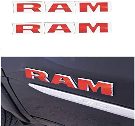 Set RAM Grille 4x4 Overlay Decal Fender Ram Sticker Letters Fit for 2019 Ram 1500 2500 3500 Red 4pcs Stickers