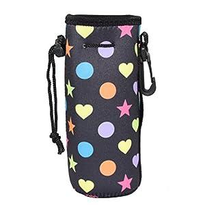 Water Bottle Sleeve, Carrier Cover Neoprene Water Bottle Drawstring Insulator Cooler Sleeve bag (Black Stars )