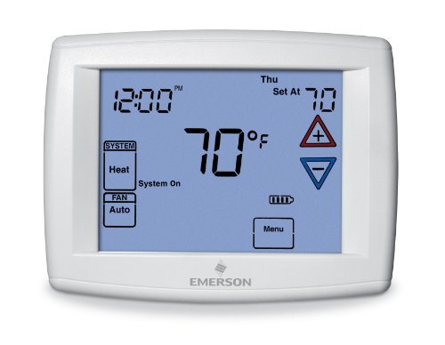 Emerson 1F97-1277 Touchscreen 7-Day Programmable Thermostat for Single-Stage and Heat Pump Systems by Emerson Thermostats