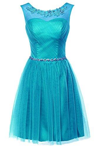 Couturebridal Sexy Robes De Bal Longueur Genou Cristal Ligne Cocktail De Fête Robes Courtes De Soirée Pour Fille Bleu