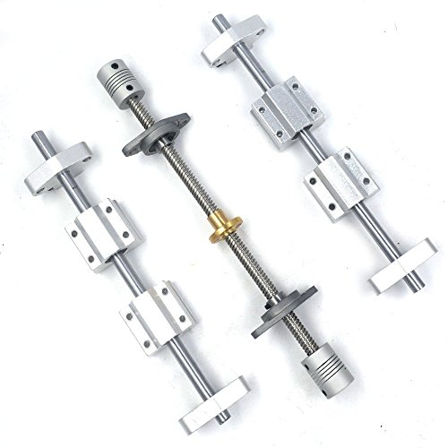 ergorun Vertical 8mm Lead Screw 450mm Length Shaft Optical Axis&Pillow Block Bearings Slide Block with Dual Rail Shaft Support SHF8 &Flexible Shaft Coupling KFL08 Pack of 16 ()