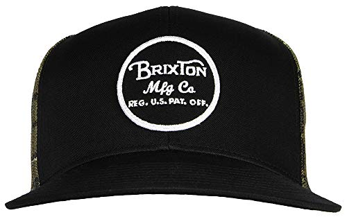 (Brixton Men's Wheeler Medium Profile Adjustable Mesh Hat, Blackcamo, One Size)