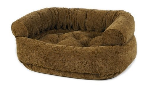 Microvelvet Double Donut Bed - Pecan Filigree Microvelvet Double Donut Bed (MEDIUM)